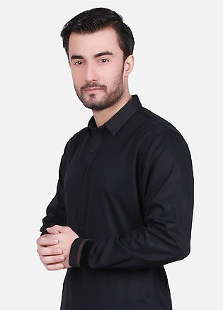 Edenrobe Cotton Formal Men Kurta Shalwar - Black EMTSW19S-9707