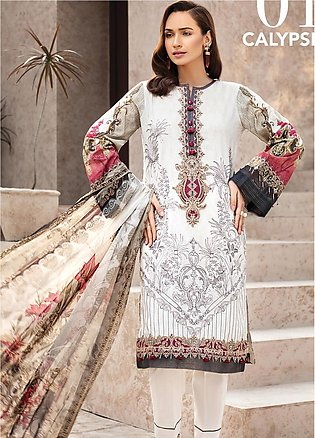 IRIS by Jazmin Embroidered Lawn Unstitched 3 Piece Suit JZ20I 1 - Summer Coll...