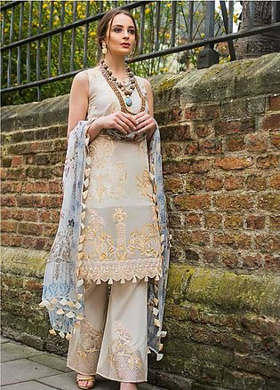 Mina Hasan Embroidered Lawn Unstitched 3 Piece Suit MH19F 5B - Festive Collec...