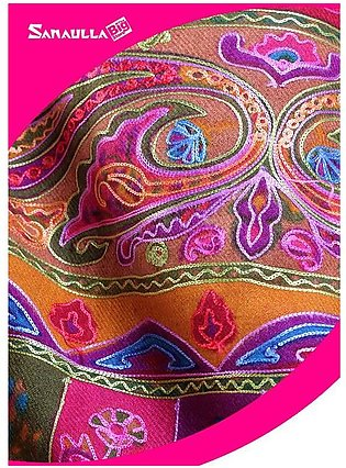 Beige Embroidered Pashmina Shawls for ladies - SW 201