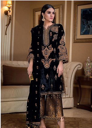 Gul Ahmed Embroidered Velvet Unstitched 3 Piece Suit GA19NC VLW 14 MEENAKARI ...