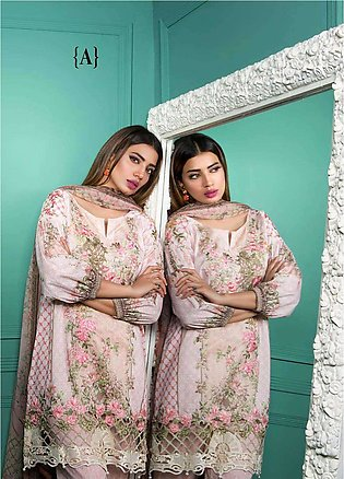 Rang Rasiya Embroidered Lawn Unstitched 3 Piece Suit RGR17E3 Moonbeams A