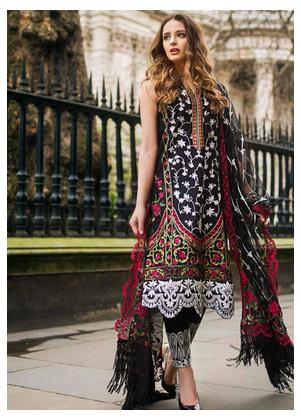 Mina Hasan Embroidered Lawn Unstitched 3 Piece Suit MH19F 4B - Festive Collection
