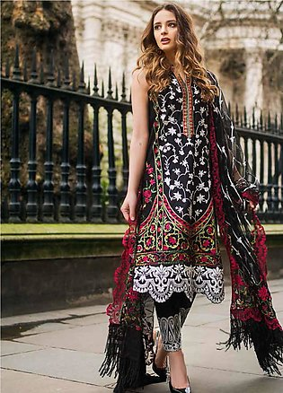 Mina Hasan Embroidered Lawn Unstitched 3 Piece Suit MH19F 4B - Festive Collec...