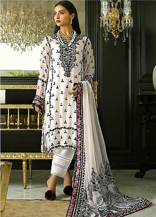 Mina Hasan Embroidered Chiffon Unstitched 3 Piece Suit MH20C 7 - Luxury Colle...
