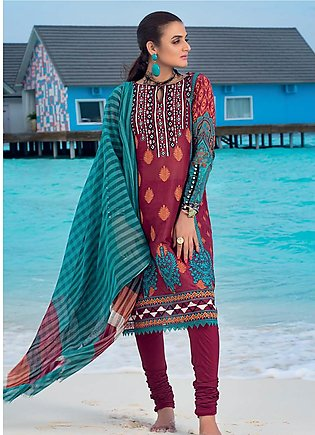 Zainab Chottani Embroidered Lawn Unstitched 3 Piece Suit ZC20LL 6A - Luxury C...