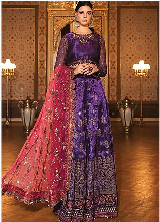 Maria B Embroidered Zari Net Unstitched 3 Piece Suit MB20WD 07 - Wedding Collec…
