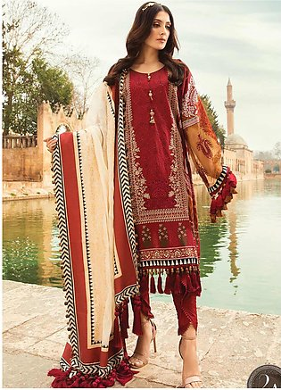Maria B Embroidered Lawn Suits Unstitched 3 Piece MB21L 2-A - Summer Collection