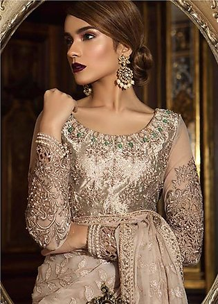 Maria B Embroidered Organza Unstitched 3 Piece Suit MB18-W1 02 - Wedding Coll...