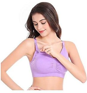 Charji Shop Purple Maternity Wire Free Breastfeeding Nursing Bra
