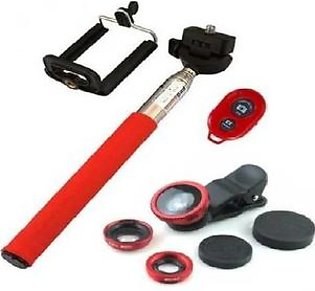 Pack of 4 -Selfie Stick,Mobile Holder,Shutter and 3in1 Mobile Camera Lens-Red