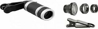 Pack of 4 - 8 to 18x Zoom Mobile Camera Lens With 3 in 1 Mobile Camera Lens - Black