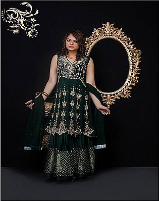 PehnawaPk 3Pc Green Color Stone Embroidered Gharara Suite-3003