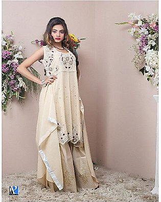 PehnawaPk 3Pc Beige Color Stone Embroidered Gharara Suite