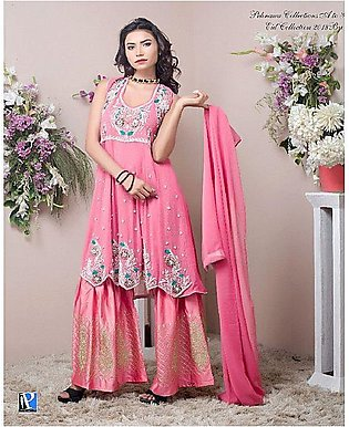 PehnawaPk 3Pc Pink Color Stone Embroidered Gharara Suite