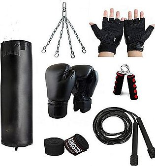 Tango Sports Pack Of 7 - Punching Bag with Boxing Gloves, Skipping Rope, Hand...