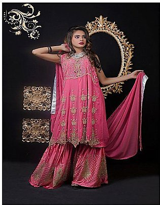 PehnawaPk 3Pc Pink Color Stone Embroidered Gharara Suite -3001