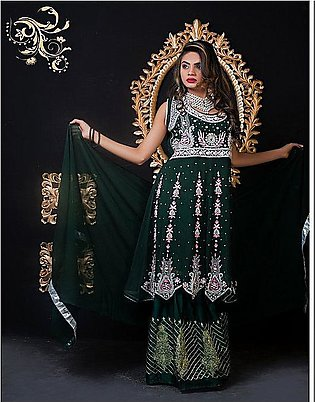PehnawaPk 3Pc Green Color Stone Embroidered Gharara Suite-3002