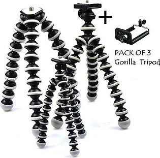 Pack Of 3 Gorilla Tripod (Small 6.5 Inches)(Medium 9.5 Inches)(Large 10.3 Inc...