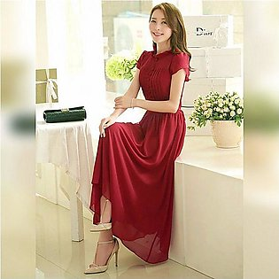 The Ajmery Women's Red Stylish Plated Long Maxi Dress. E4H-00031