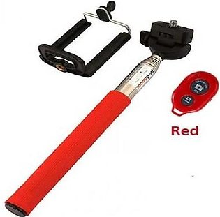 Selfie Stick with Mobile Holder and Shutter - Red