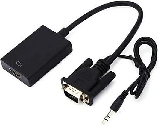 Attaris Communication VGA to HDMI Adapter Converter Cable - Black
