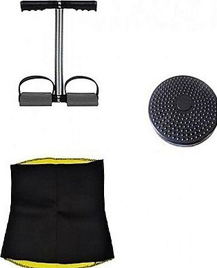 Tango Sports Deal of 3 - Tummy Trimmer Double, Twister Disc & Hot Belt - Blac...