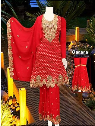 Embrodied Red Classic Gharara