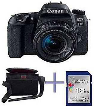 CANON EOS 77D DSLR Camera With 18-55mm IS STM Lens - 16Gb Card Kit Bag - Black