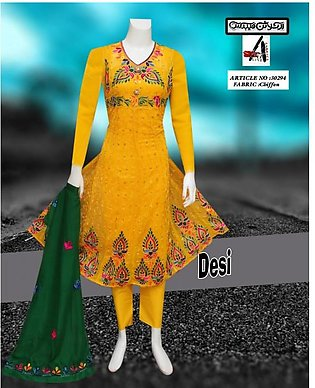 Embrodied Yellow Desi Tulip Mayo For Women