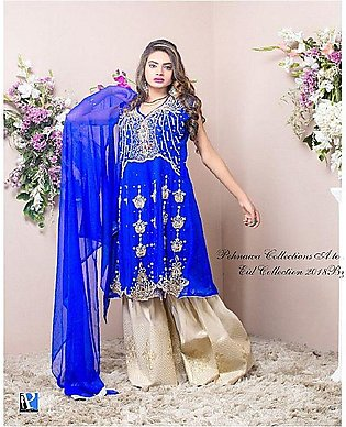 PehnawaPk 3Pc Blue Color Stone Embroidered Gharara Suite