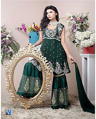 PehnawaPk 3Pc Green Color Stone Embroidered Gharara Suite