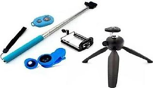 Pack of 5 -Selfie Stick,Yunteng Mini Tripod,Mobile Holder,Shutter and 3in1 Mobile Camera Lens-Blue