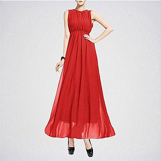 The Ajmery Women's Red Sleeveless Elegant Casual Long Maxi Dress. E4H-00028
