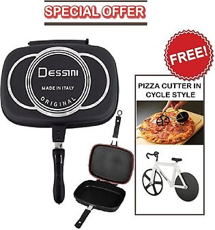Pack of 2 - Double Sided Grill Pan 40 Cm & Pizza Cutter in Cycle Style