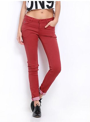 Women's Maroon Denim Jeans SA-J12