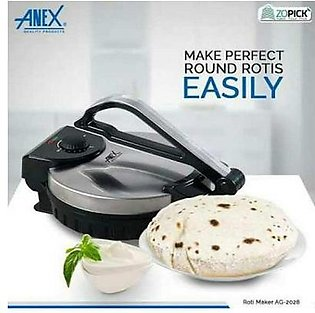 "Deluxe Roti Maker 10"" Inch Stainless Steel Non-Stick Electric Tortilla Maker Chapati Maker - Black & Silver"