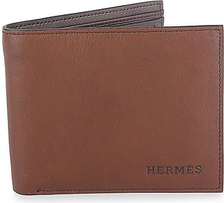 HERMES Plain Leather with Stitched Border - Brown