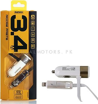 Remax 3.4A Fast 8 Car Mobile Charger with 2 in 1 cables