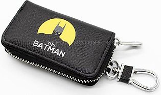Batman Zipper Matte Leather Key Cover With Key Chain / Key Ring Pouch Style V2