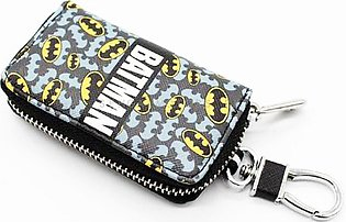 Batman Zipper Matte Leather Key Cover With Key Chain / Key Ring Pouch Style V1