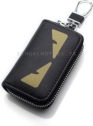 Dragon Eyes Zipper Matte Leather Key Cover With Key Chain / Key Ring Pouch