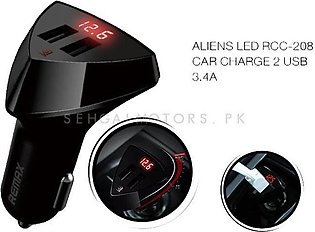 Remax Aliens LED Dual USB Car Mobile Charger with Voltage Display - 3.4A