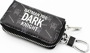 Dark Knight Zipper Matte Leather Key Cover With Key Chain / Key Ring Pouch