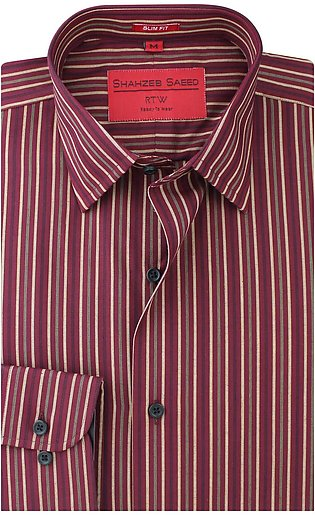 Maroon And Fawn Stripped Dress Shirt (RTW-1647)