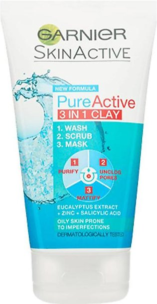 Pure Active 3-in-1 Clay Mask Scrub Wash Oily Skin 100ml