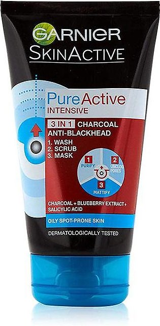 Pure Active Intensive 3in1 Charcoal Blackhead Mask Wash Scrub 100ml