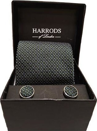 Harrods Green Tie With Cuff Links