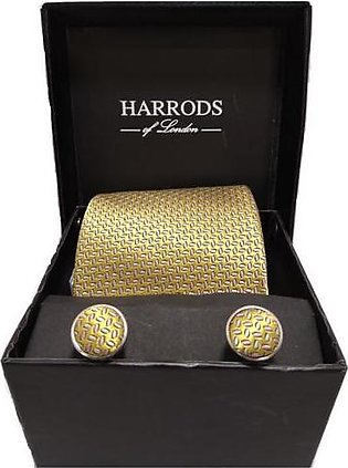 Harrods Gold Pink Tie With Cuff links