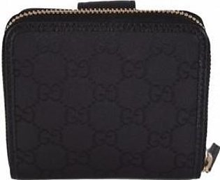 Gucci Women's Black Canvas GG Guccissima French Zip Wallet W/Coin